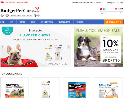 Budget Pet Care coupons Free ground shipping
